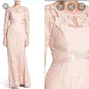 Adrianna Papell pink long lace beaded gown